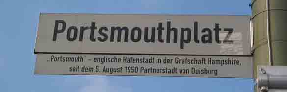 Portsmouthplatz nameplate in Duisburg