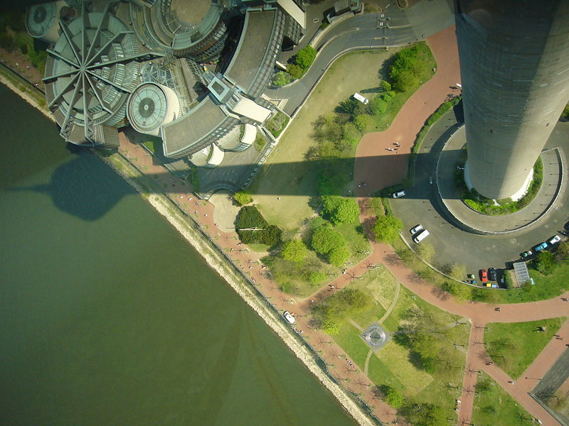 View from the top of the Rhine Tower (Rheinturm), Dusseldorf